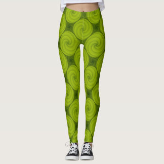 Modelo verde de Swirly Leggings