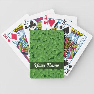 Modelo verde del trébol barajas de cartas