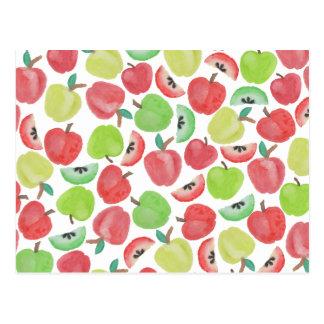 Modelo verde rojo de la fruta de las manzanas de postal
