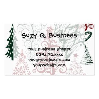 Modelo verde rojo del árbol de navidad del día de tarjetas de visita