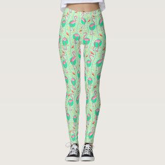 Modelo verde tropical del verano de los helechos leggings