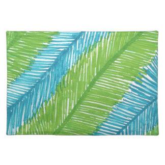 Modelo verde y azul de las hojas de palma salvamanteles