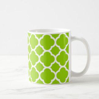 Modelo verde y blanco de la cal/de la fruta taza básica blanca