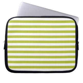 Modelo verde y blanco de la raya funda para ordenador