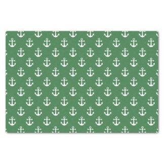 Modelo verde y blanco náutico del ancla papel de seda