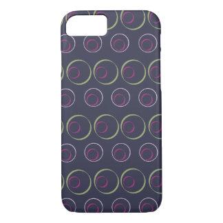 Modelo verde y rosado del círculo en fondo gris funda iPhone 7