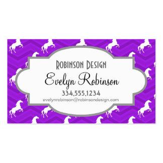 Modelo violeta de Chevron del caballo púrpura y bl Tarjeta Personal