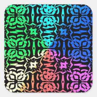 Modelo y formas coloridos rústicos pegatina cuadrada