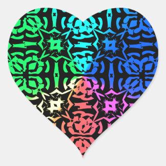 Modelo y formas coloridos rústicos pegatina en forma de corazón
