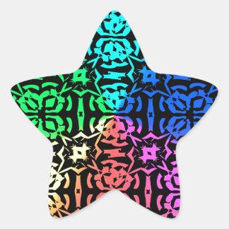 Modelo y formas coloridos rústicos pegatina en forma de estrella