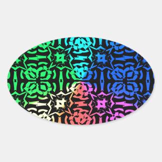 Modelo y formas coloridos rústicos pegatina ovalada
