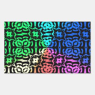 Modelo y formas coloridos rústicos pegatina rectangular