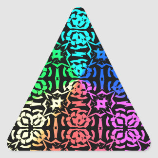 Modelo y formas coloridos rústicos pegatina triangular