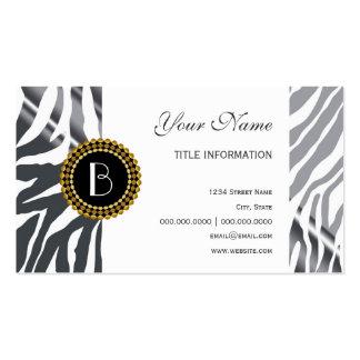 Modelo y monograma de la cebra del estampado de an tarjeta de negocio