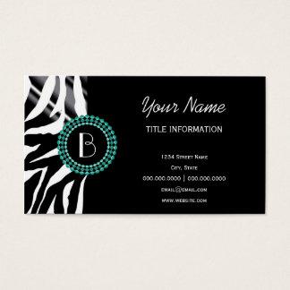 Modelo y monograma de la cebra del estampado de tarjeta de negocios