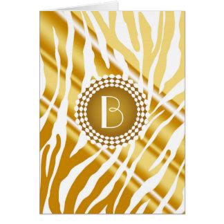 Modelo y monograma de oro de la cebra del estampad tarjeta de felicitación