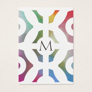 Modelo y monograma geométricos coloridos tarjeta de negocios
