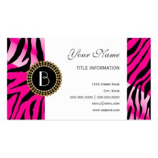 Modelo y monograma rosados de la cebra del estampa tarjetas de visita