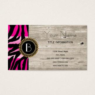Modelo y monograma rosados de la cebra del tarjeta de negocios