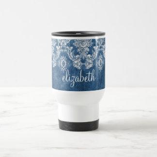 Modelo y nombre azules del damasco del vintage del taza de viaje