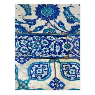 Modelos azules y blancos del iznik clásico del postal