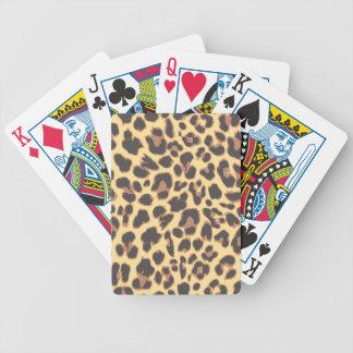Modelos de la piel animal del estampado leopardo baraja de cartas bicycle