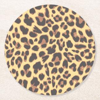 Modelos de la piel animal del estampado leopardo posavasos redondo de papel