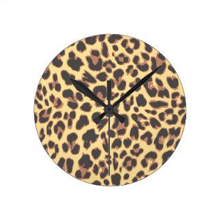Modelos de la piel animal del estampado leopardo reloj redondo mediano