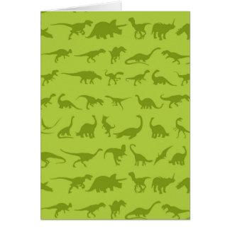 Modelos lindos de los dinosaurios verdes para los tarjeta de felicitación