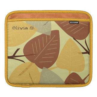 Modern scattered leaves fall autumn branch fashion iPad sleeve
