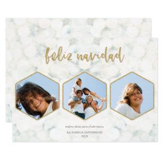 Moderna Feliz Navidad Blanco y Oro Foto Invitación 12,7 X 17,8 Cm