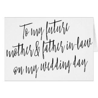 """Moderno """"a mi madre y suegro futuros """" tarjeta de felicitación"""