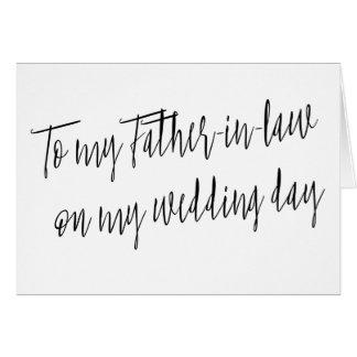"""Moderno """"a mi suegro en mi día de boda """" tarjeta de felicitación"""