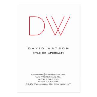 Moderno blanco rojo del monograma elegante simple tarjetas de visita grandes