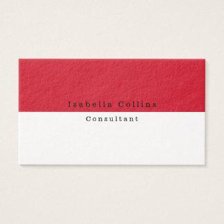 Moderno creativo minimalista blanco rojo llano tarjeta de visita