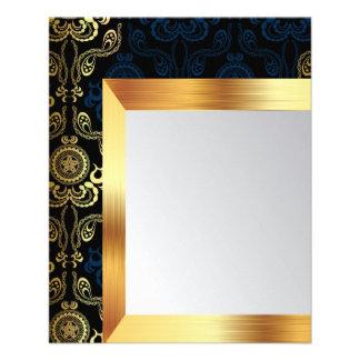 moderno, damascos, florales, oro, remolino, folleto 11,4 x 14,2 cm