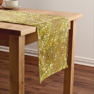 Moderno, el chispear, falso, brillo del oro, camino de mesa
