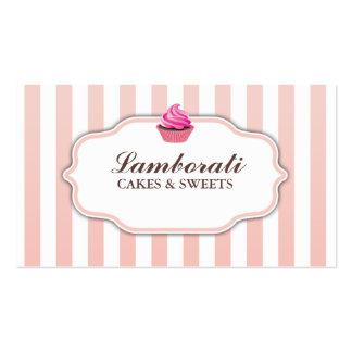 Moderno elegante lindo del rosa de la panadería de tarjetas de visita