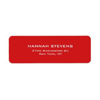 Moderno elegante profesional rojo llano simple etiqueta de remite