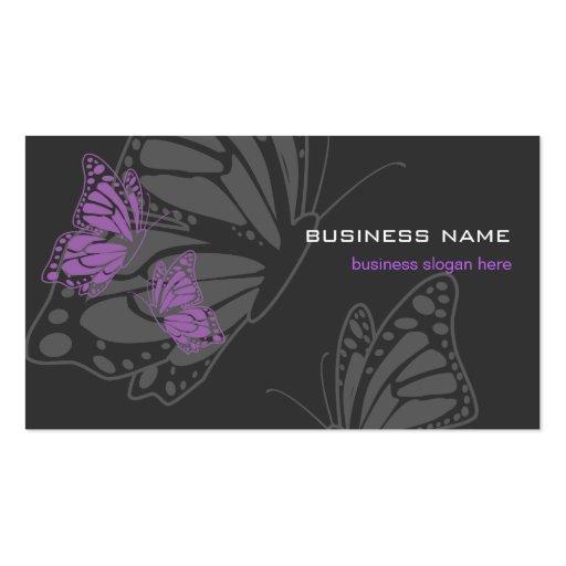 Moderno elegante violeta y oscuro de la mariposa tarjeta de visita