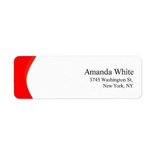 Moderno minimalista elegante llano rojo y blanco etiquetas de remite