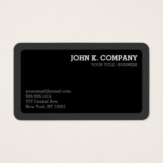 Moderno mínimo gris oscuro y negro redondeada tarjeta de visita