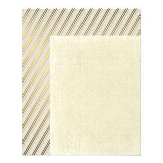 moderno, oro, plata, diagonal, rayas, modelo, de folleto 11,4 x 14,2 cm