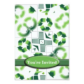 Moderno vaya verde y recicle el monograma del invitación 12,7 x 17,8 cm