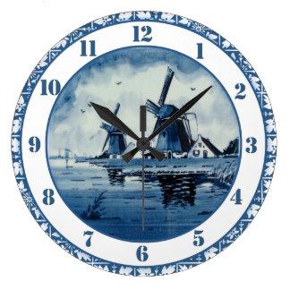 Molino de viento azul del azul de Delft Reloj Redondo Grande