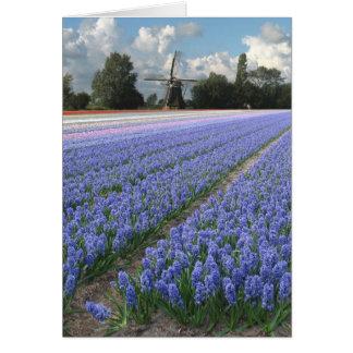 Molino de viento azul del campo de flores del tarjeta