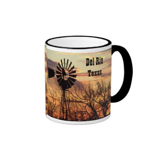 Molino de viento del recuerdo de Del Río Tejas Tazas De Café