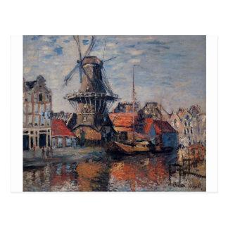 Molino de viento en el canal de Onbekende, Postal