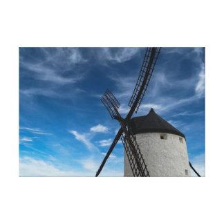 molino de viento Negro-blanco Impresión En Lona