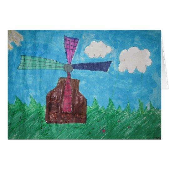 Molino de viento tarjeta de felicitación